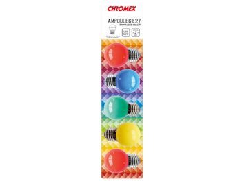 Blister de 5 ampoules E27 LED Multicolore Ø 45